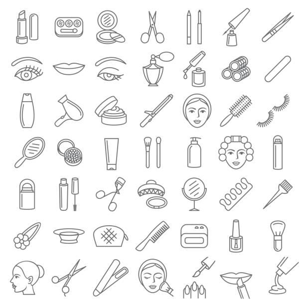 ilustrações, clipart, desenhos animados e ícones de cosmética beleza e tornar-se um conjunto de ícones - tratamentos de beleza