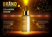 Cosmetic beauty product, ads of premium serum essence for skin care. Template for your design, vector illustration.
