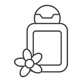 Cosmetic bottle with flower thin line icon, spa salon concept, oil bottle sign on white background, Spa cosmetics lotion icon in outline style for mobile concept and web design. Vector graphics
