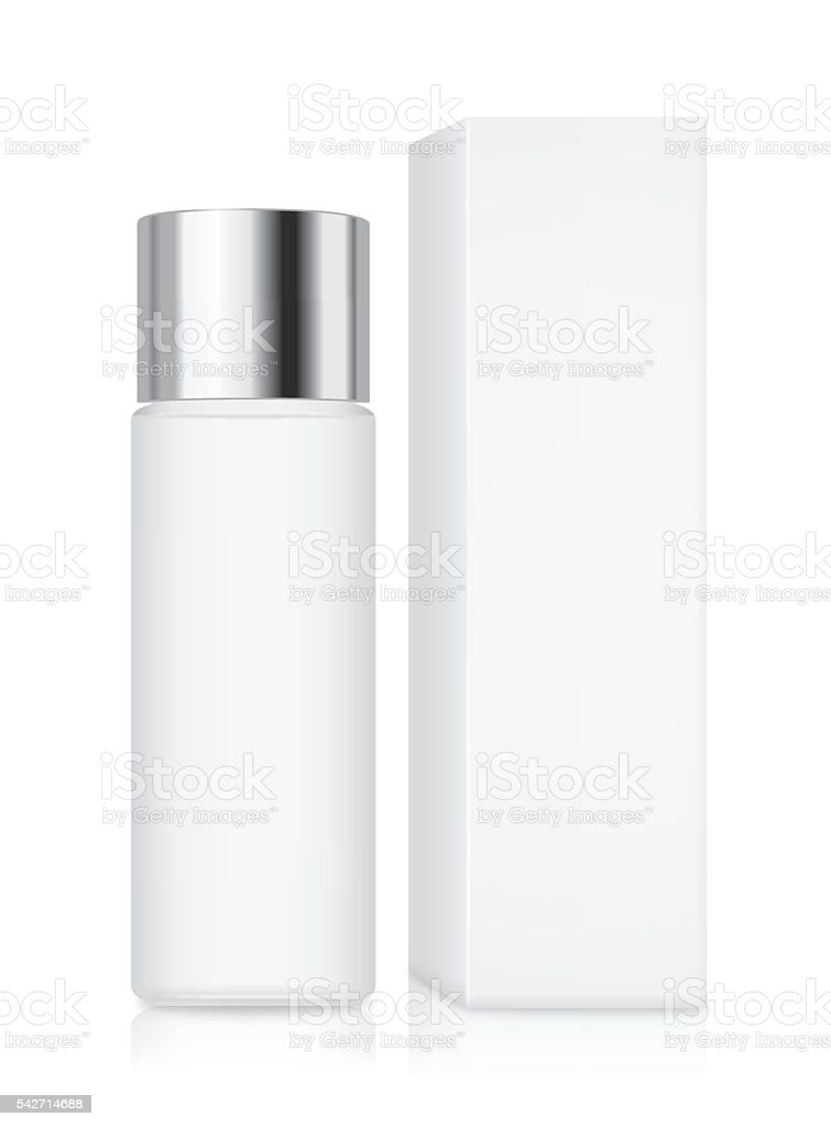 Cosmetic bottle with silver cap vector art illustration