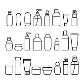 Cosmetic Bottles Signs Black Thin Line Icon Set Include of Cream, Lotion, Shampoo, Spray and Soap. Vector illustration of Icons