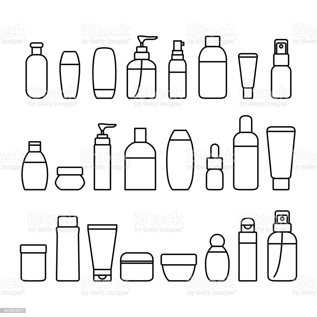 Cosmetic Bottles Signs Black Thin Line Icon Set. Vector vector art illustration
