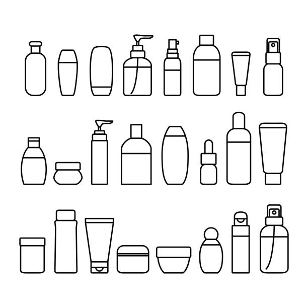 cosmetic bottles signs black thin line icon set. vector - zbiornik wytworzony przedmiot stock illustrations