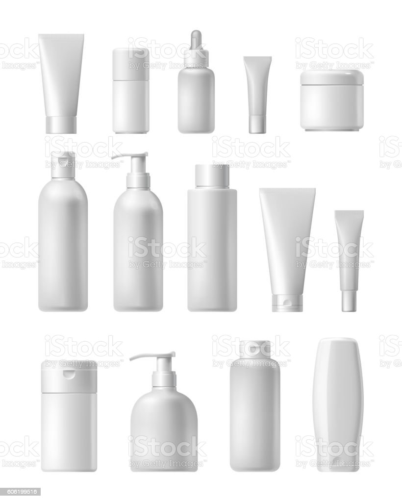 Cosmetic brand template. Realistic bottle set. vector art illustration