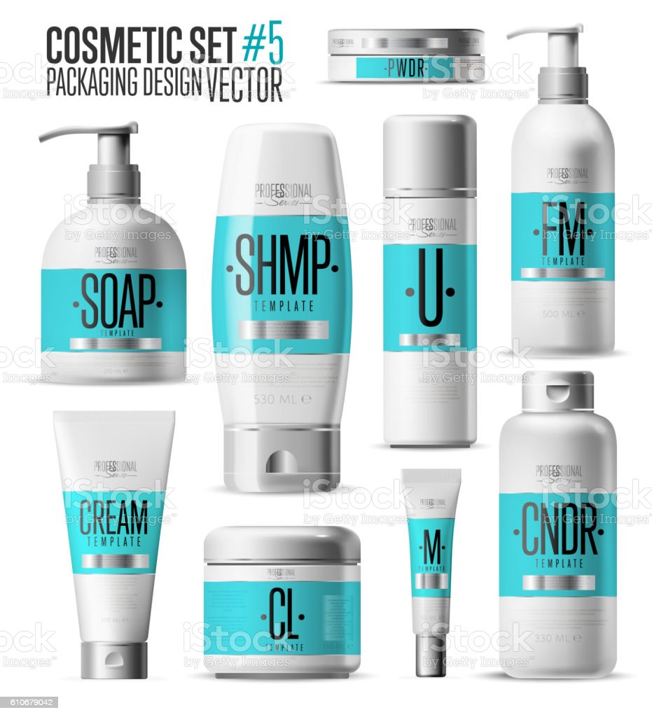 cosmetic brand template realistic bottle set しぶきのベクター