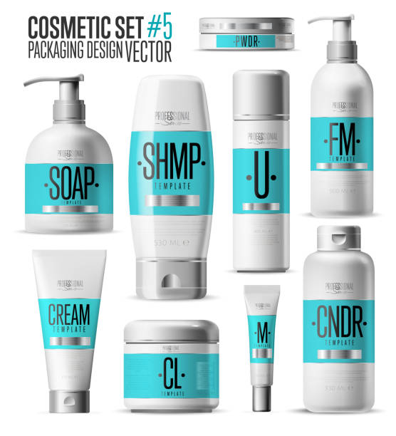 Cosmetic brand template. Realistic bottle set. vector art illustration