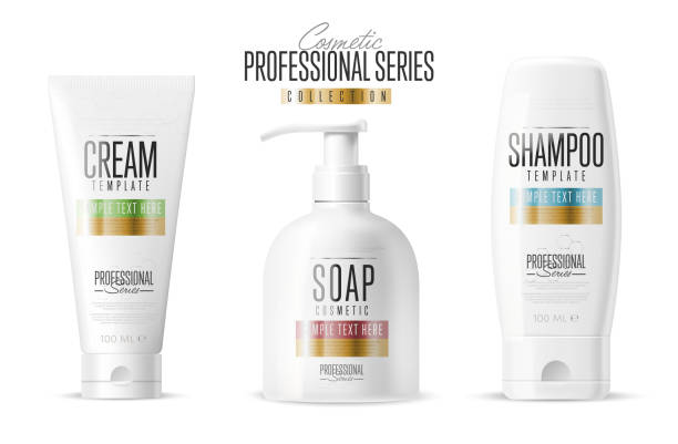 cosmetic brand template. realistic bottle set. - shampoos stock-grafiken, -clipart, -cartoons und -symbole