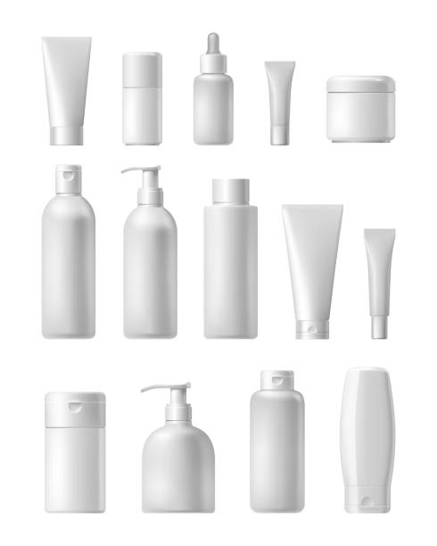 Cosmetic brand template. Realistic bottle set. Cosmetic brand template. Vector packaging. Oil, lotion, shampoo. Realistic bottle mock up set. Isolated pack on white background. bottle stock illustrations