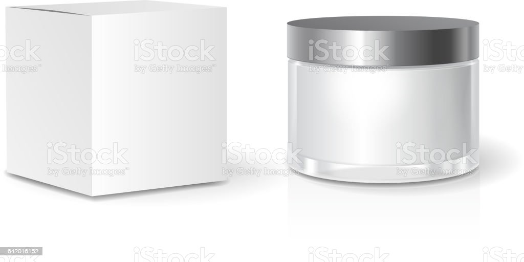 Cosmetic collection Box and skin care Cream jar template, blank white package. Realistic mock up vector art illustration