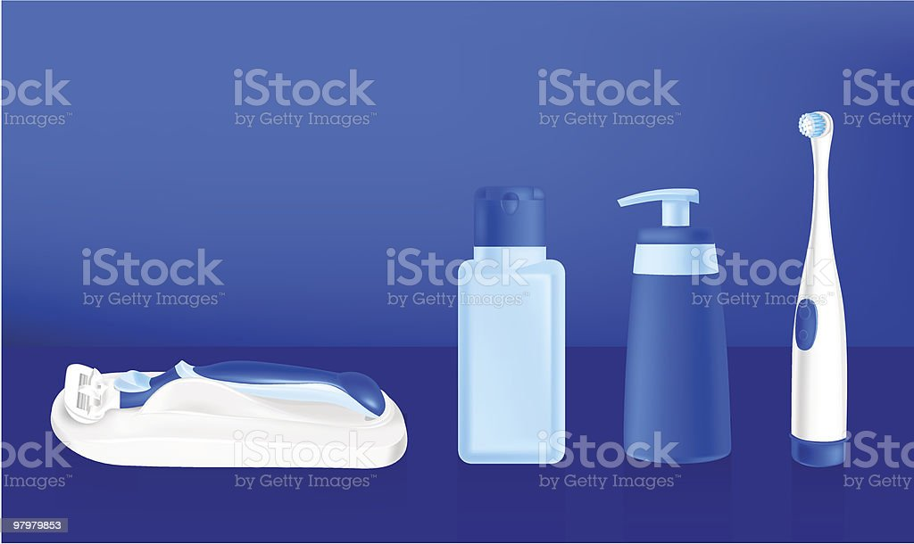 cosmetic containers, tooth brush and safety razor royalty-free cosmetic containers tooth brush and safety razor stock vector art & more images of beauty product
