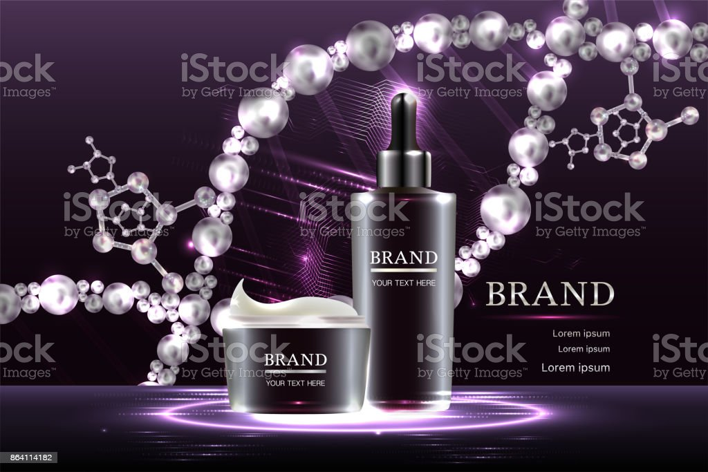Cosmetic containers with advertising background ready to use, luxury skin care ad. royalty-free cosmetic containers with advertising background ready to use luxury skin care ad stock vector art & more images of advertisement