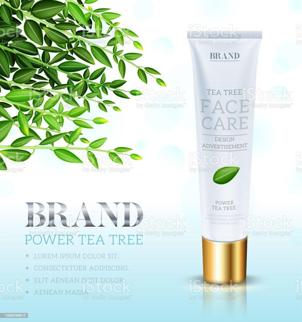 Cosmetic cream ads template, Face care cream based Tea tree. Makeup...
