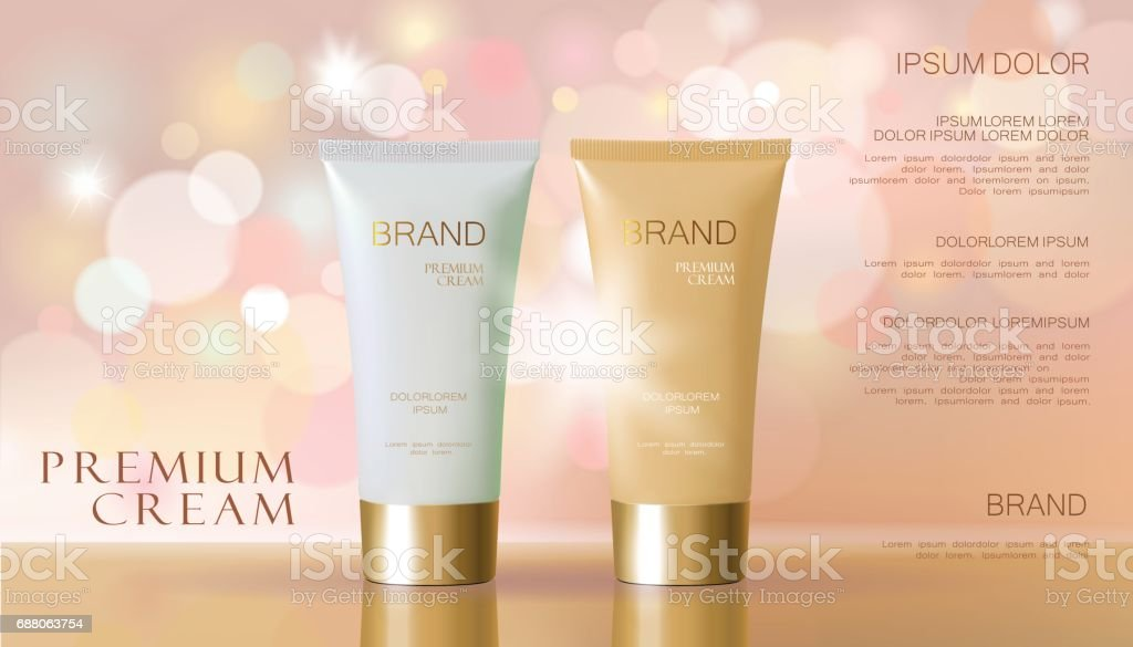 Cosmetic creamwhite delicate beige color background with defocused blurry light bokeh. Skin care package promotional template. Glossy golden glitter vector illustration vector art illustration