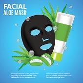 Cosmetic Facial Sheet Aloe Mask Card or Poster for Avertising Beauty Product Ingredient Moisture Woman or Girl Skin Care Vector illustration Part of Masks Collection