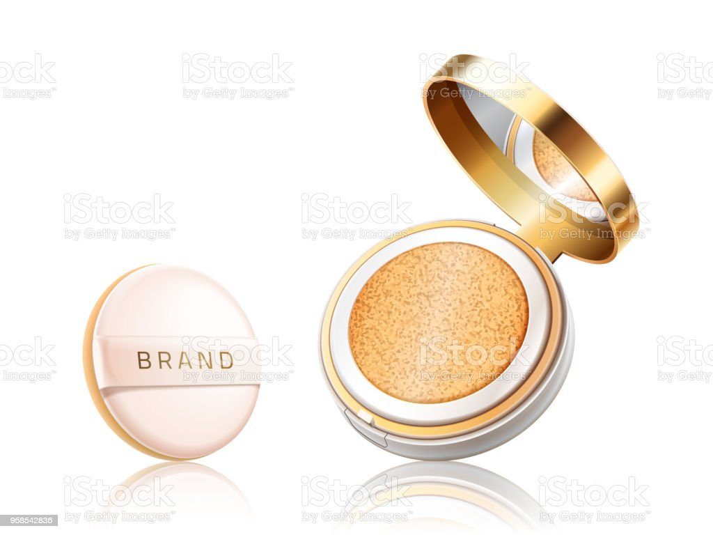 Cosmetic foundation case. Open container with liquid foundation or powder with pillow isolated on white background. Package design elements. Vector realistic 3d illustration