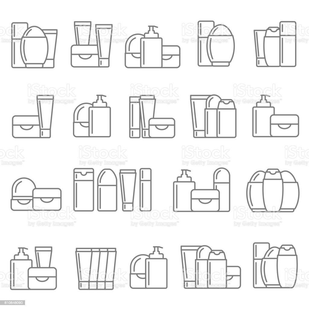 Conjunto de ícones de cosméticos - ilustração de arte em vetor