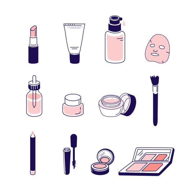 stockillustraties, clipart, cartoons en iconen met cosmetische pictogrammen - skincare