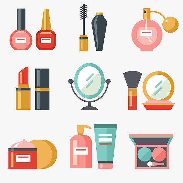 cosmetic icons - makeup fashion stock illustrations