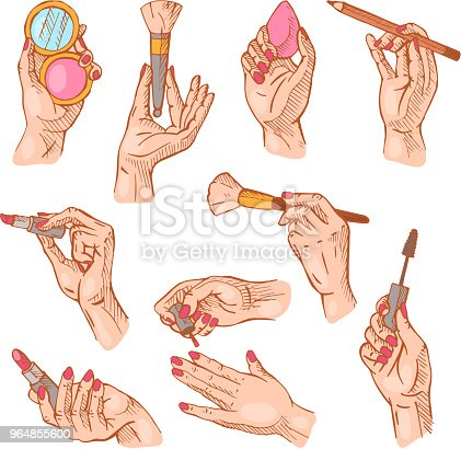 Cosmetic In Hand Vector Beauty Make Up Cosmetology For Beautiful Woman And Manicured Hands With Manicuring Fingernails Illustration Set Of Holding Cosmetician Accessories Isolated On White Background Stock Vector Art & More Images of Adult 964855600