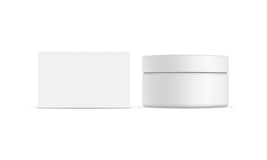 Cosmetic jar with packaging box mockup isolated