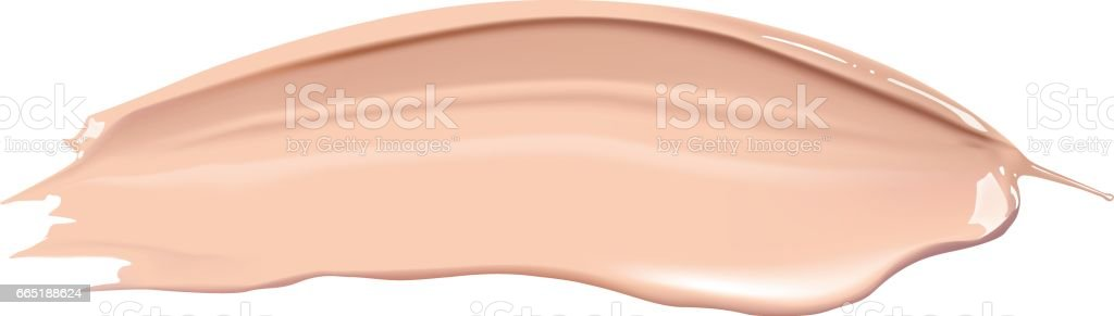 Cosmetic liquid foundation cream smudge smear strokes. Make up smear isolated on white background. vector art illustration