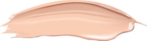 ilustrações, clipart, desenhos animados e ícones de creme cosmético de fundação líquido cascão esfregaço traçados. compõem o esfregaço isolado no fundo branco. - planos de fundo borrados