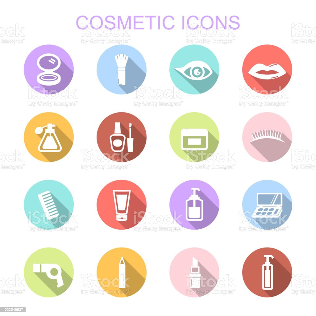 cosmetic long shadow icons vector art illustration