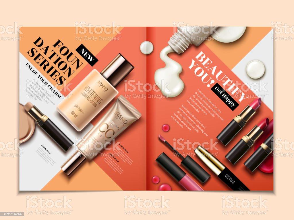 Cosmetic magazine template vector art illustration