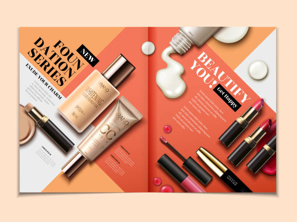 cosmetic magazine template - makeup fashion stock illustrations