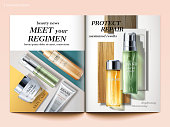 Cosmetic magazine template, top view of skincare products isolated on geometric background in 3d illustration