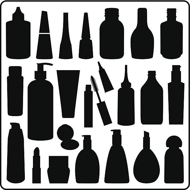 Kosmetische Materialien, schwarz und weiß – Vektorgrafik