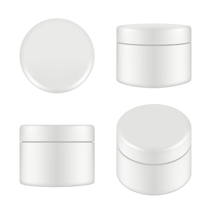 Cosmetic package. Rounded cleaning cream plastic tube box container top and side view vector mockup isolated