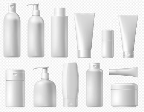 Cosmetic package. White shampoo bottle, cream tube