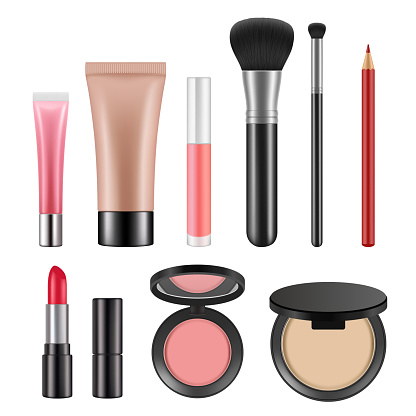 Cosmetic packages. Various realistic pictures of cosmetics for women
