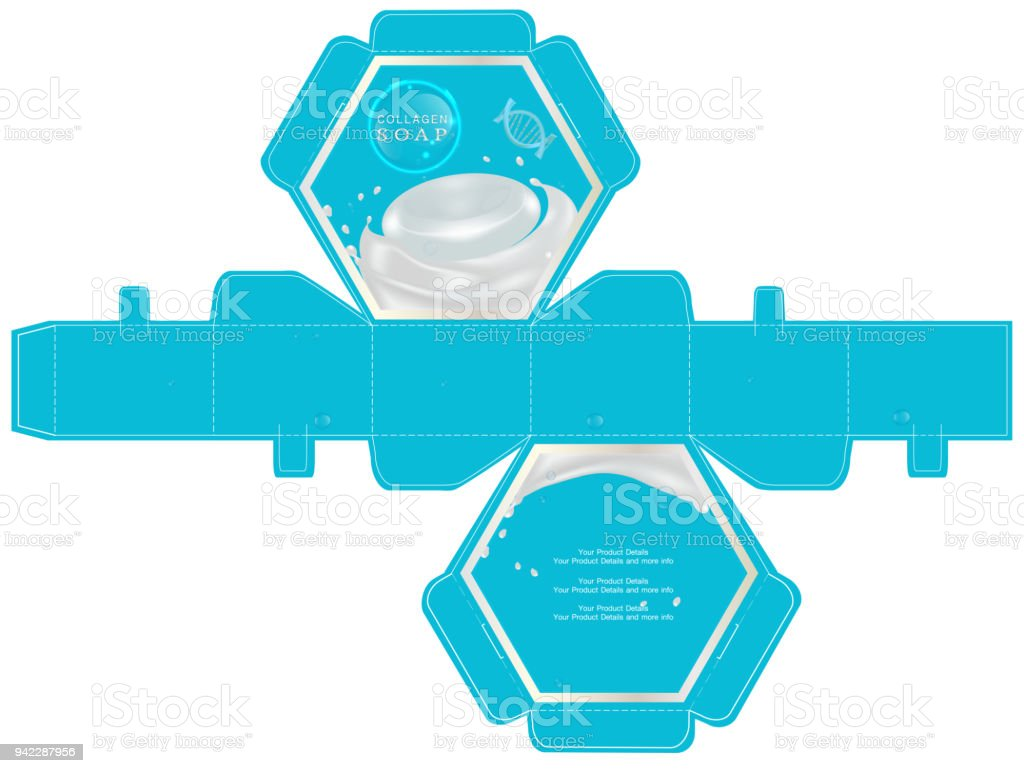 Cosmetic Packaging 6sided Box Design Template Vector Illustration