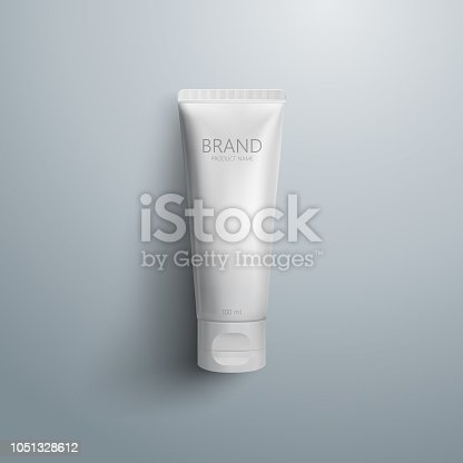 istock Cosmetic packaging design. White cream tube. 3d realistic vector illustration eps 10. Cosmetics mockup for branding. Beauty makeup product. Top view 1051328612