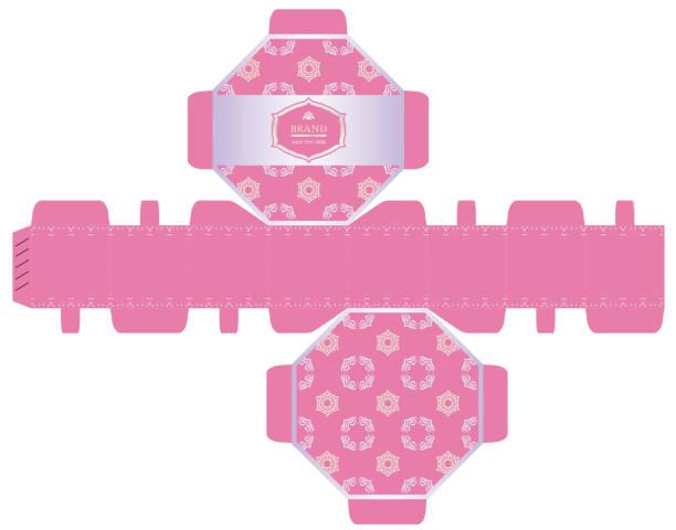 kosmetik-verpackungen, luxus-8-seiten-box-design-vorlage. vektor-illustration. - stanzen stock-grafiken, -clipart, -cartoons und -symbole