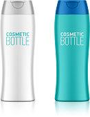 Cosmetic packaging, plastic shampoo or shower gel bottle template