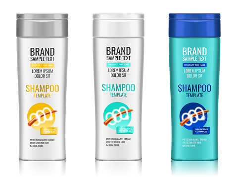 Cosmetic packaging, realistic plastic shampoo or shower gel bottle template with different design of packaging, 3d illustration