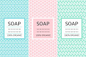Cosmetic Packaging set design template vector. Pastel collection of seamless patterns for organic beauty label. Tag for natural spa products, body lotion, soap, shampoo or cream.