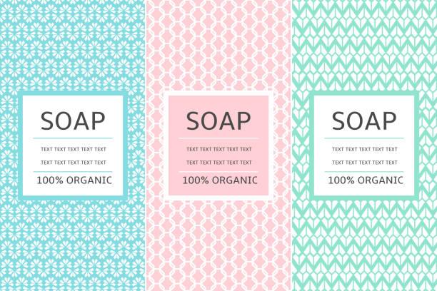 kosmetik-verpackungen setzen design-vorlage-vektor. pastell sammlung von seamless pattern für bio-beauty-label. tag für natürliche wellness-produkte, bodylotion, seife, shampoo oder creme. - naturseife stock-grafiken, -clipart, -cartoons und -symbole