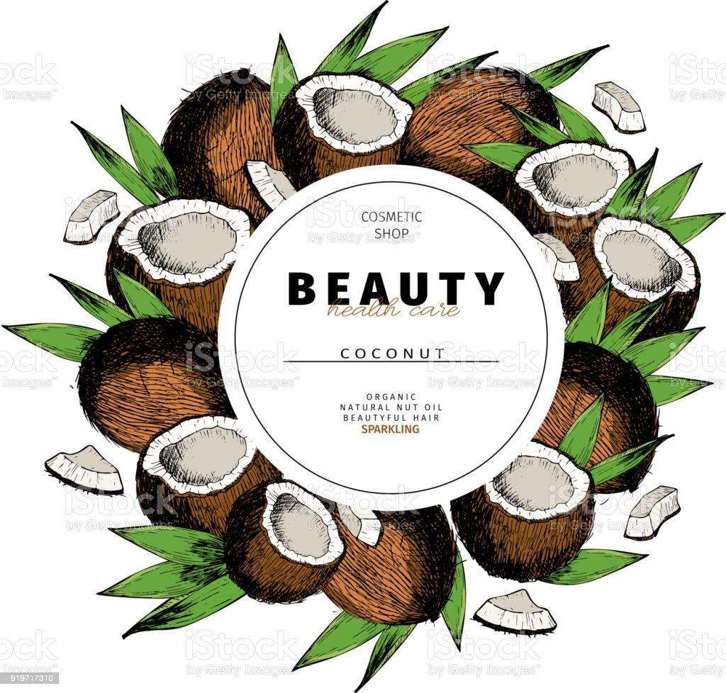 Kosmetikverpackungen Vorlage KokosnussÖlbeautyprodukt Vektor Hand ...