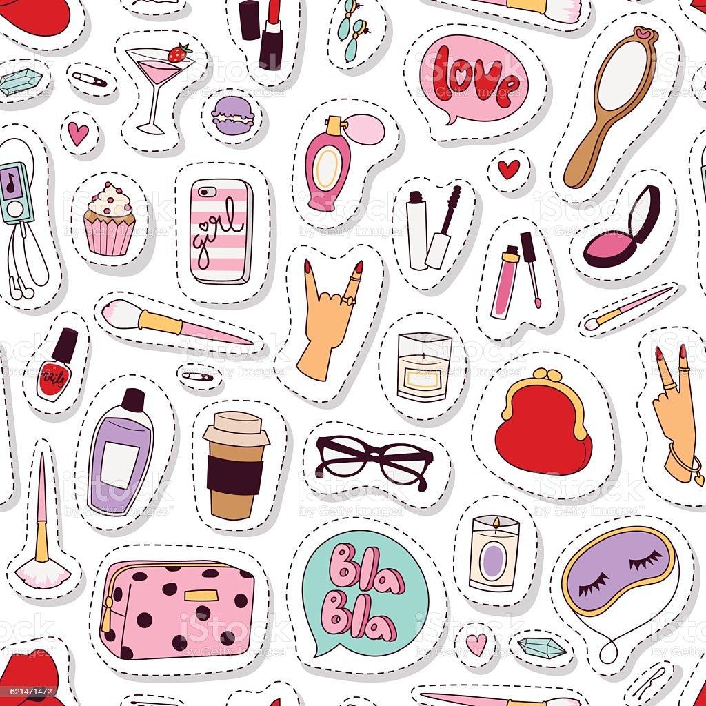 Cosmetic pattern vector. vector art illustration