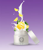 Cosmetic plastic jar with lemon cream splashing. Isolated white background  mockup template. 3d cosmetic container for cream, powder or gel. Packaging design element. Vector illustration.