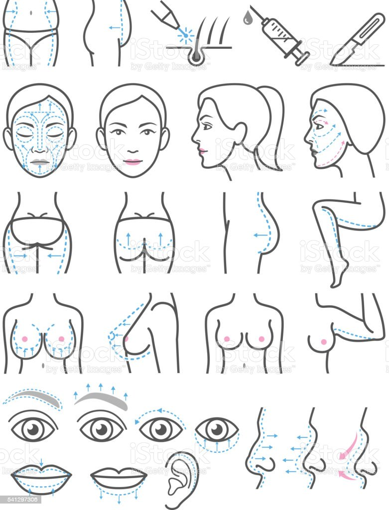 Cosmetic plastic surgery icons. vector art illustration