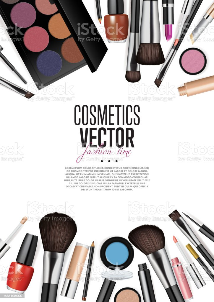 Cosmetic Products Assortment Realism Vector Banner vector art illustration
