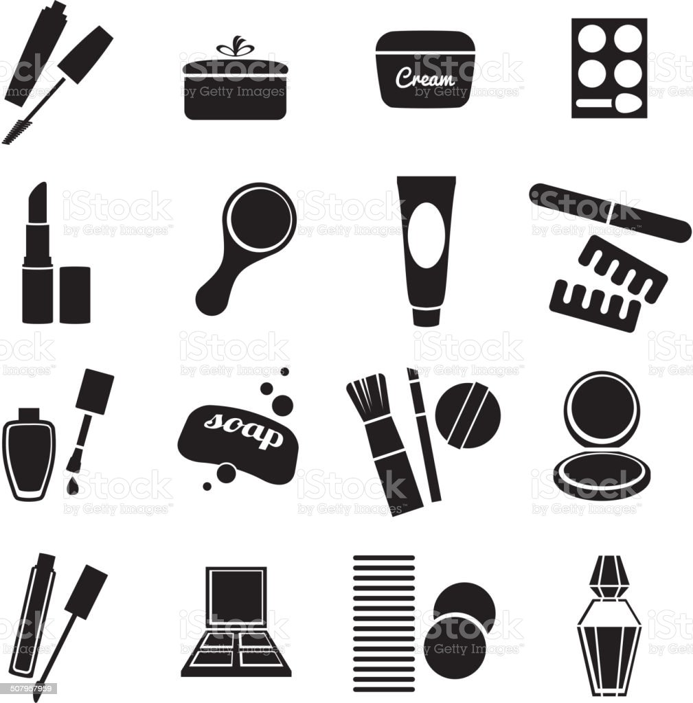 Cosmetic products black and white icons set.