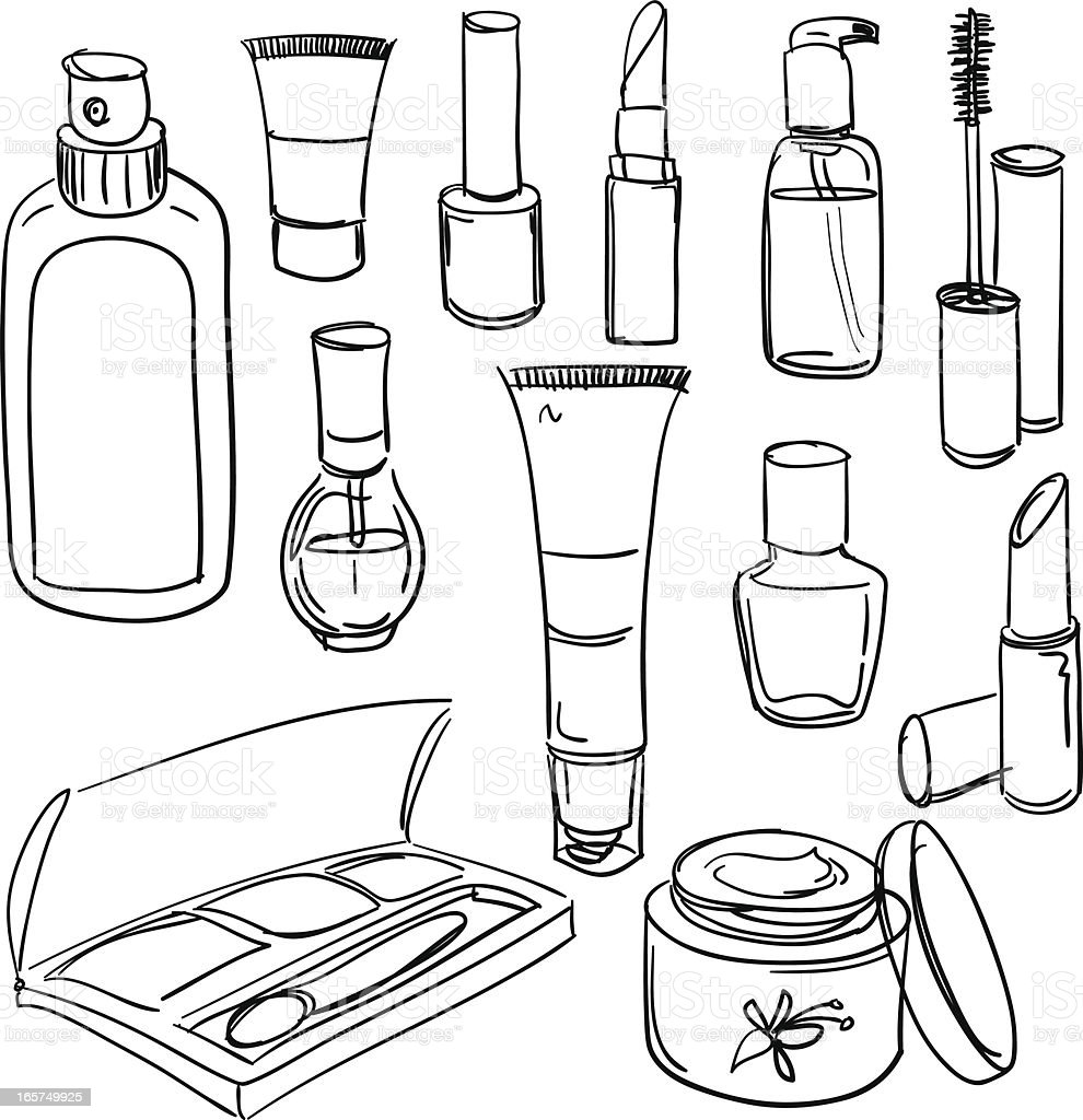 Cosmetic products collection vector art illustration