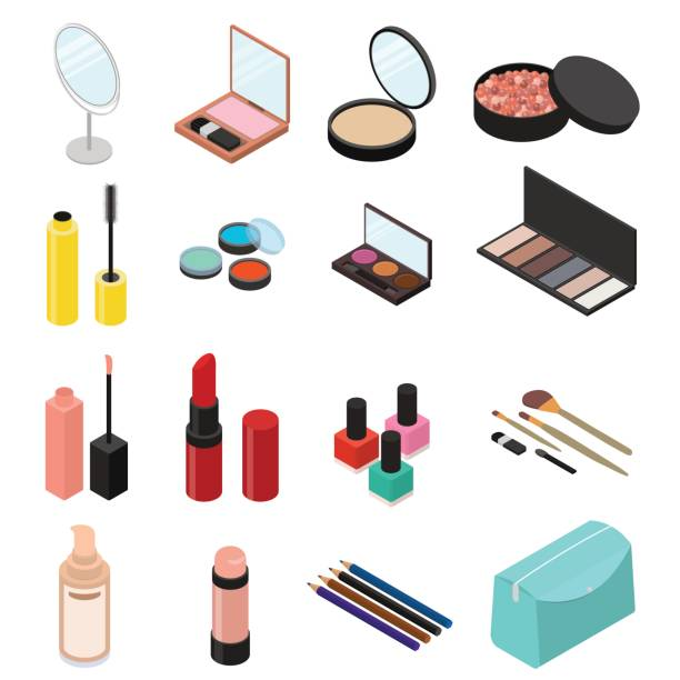 cosmetic products set isometric view. vector - makeup stock illustrations
