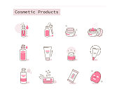Different Cosmetic Icons Collection. Containers and Bottles with Beauty Products. Moisturizing Cream, Hygienic Products, Serum and other Skin Care Cosmetics. Flat Line Cartoon Vector Illustration.